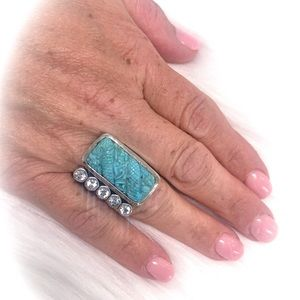 Stephen Dweck carved turquoise ring